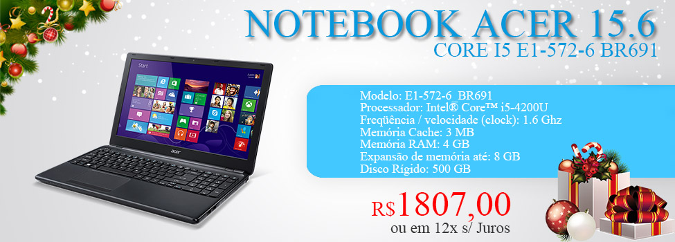 NOTEBOOK ACER 15.6 CORE I5 E1-572-6 BR691 500GB/4GB/DVD/W8 SL