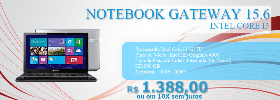 NOTEBOOK GATEWAY 15.6 CORE I3 4GB/500GB/W8 NE57006B