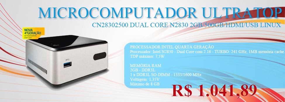 MICROCOMPUTADOR ULTRATOP NUC INTEL CN28302500 DUAL CORE N2830 2G