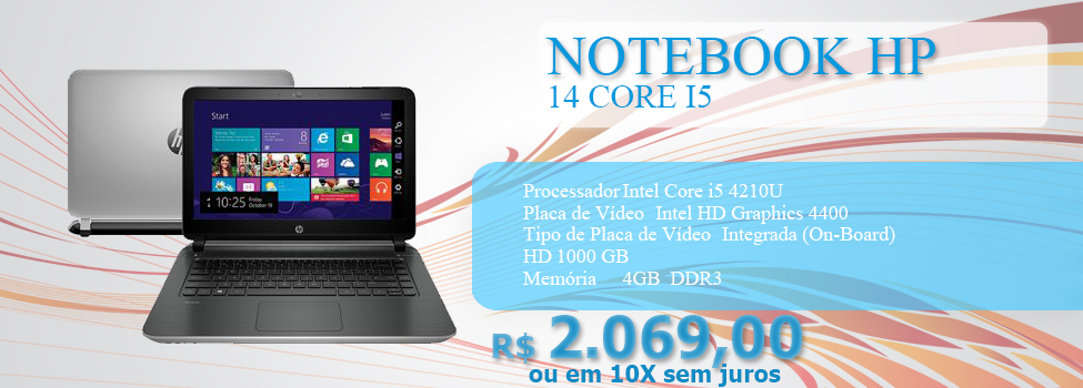 NOTEBOOK HP 14 CORE I5/1000GB/4GB/DVD/WIN 8.1 14-V061BR