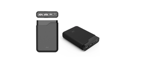 CARREGADOR PORTATIL POWER BANK DAZZ ONIX 10 10000MAH 2USB+1MICRO USB+TYPE C RUBBER LCD PRETO 6014080