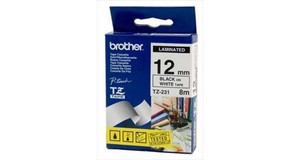 FITA PARA ROTULADORA BROTHER 12 MM - PRETO/BRANCO - TZE231 (P/PT-H110)