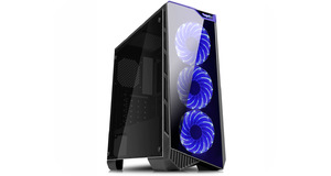 GABINETE GAMER K-MEX CG-04P9 VAMP 3 FANS LED FRONTAL AZUL USB 3.0/2.0 FRENTE/LATERAL ACRILICO S/FONTE