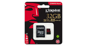 MEMORY CARD MICRO SD 32 GB  COM ADATADOR 4K KINGSTON CLASSE 10 100MBP (CANVAS REACT)