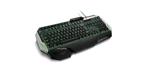 TECLADO GAMER MULTILASER METAL  WAR PRETO E PRATA COM LED TC189